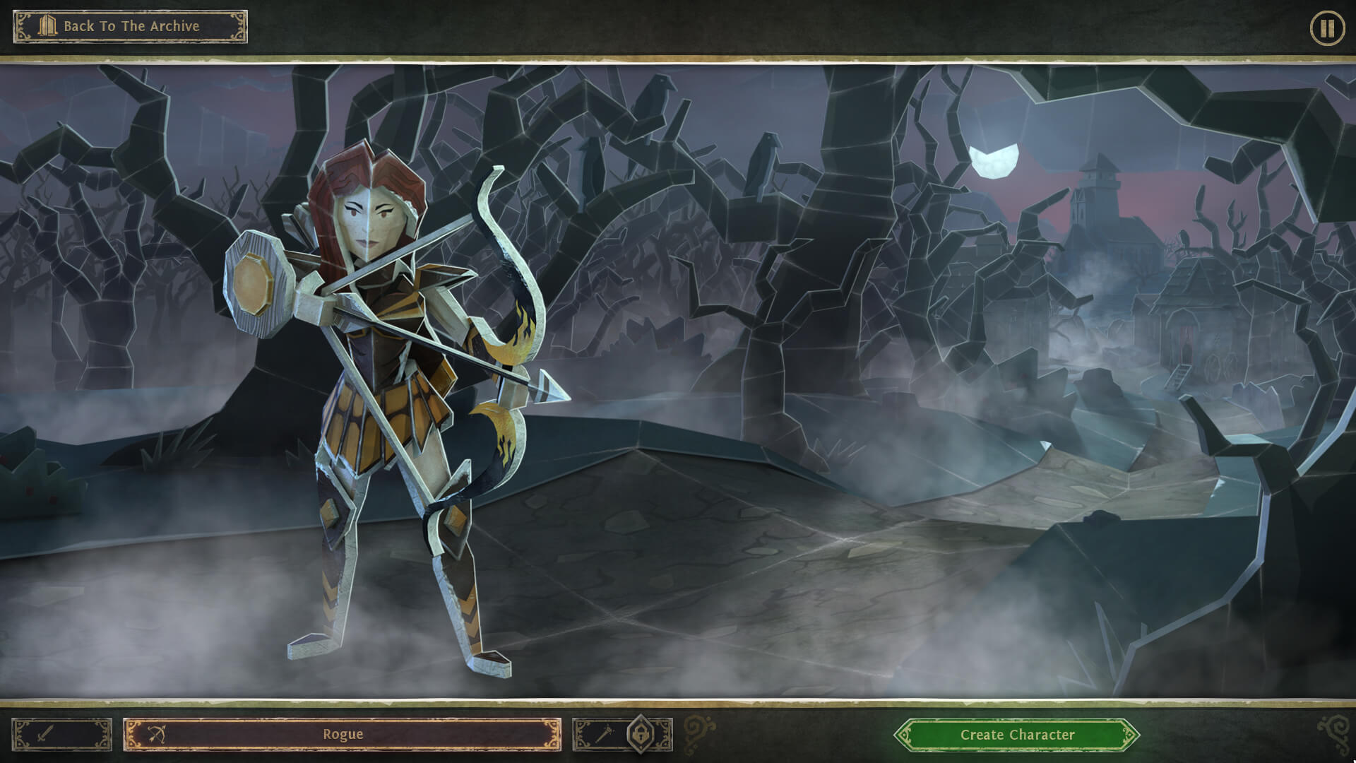 Character selection screen in Book of Demons